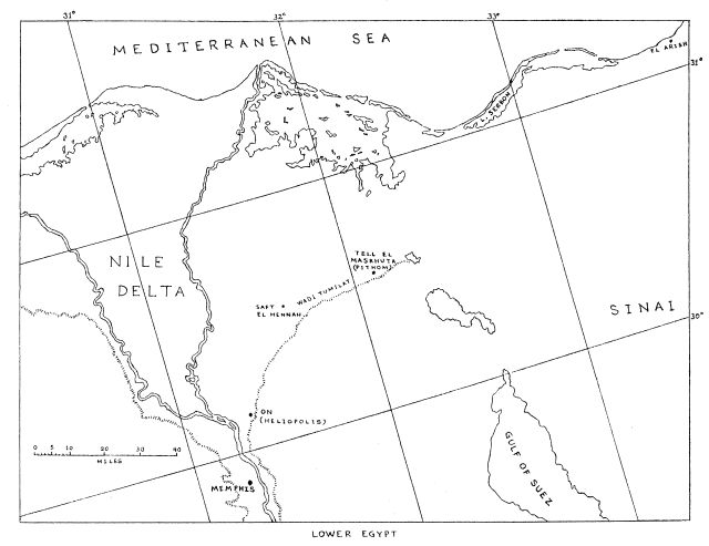 In the last century a shrine of Ptolemaic times was found at El-Arish (see map), serving as a cattle-trough & damaged, yet 74 lines remained. Text that Velikovsky saw was parallel to Egyptian accounts of the Exodus, confirming the plague of darkness & miraculous parting of the Sea of Passage. He believed that useful historical information could be elicited from it, by means of which the pharaoh of the Exodus and the route taken by the fleeing Israelites might be identified.