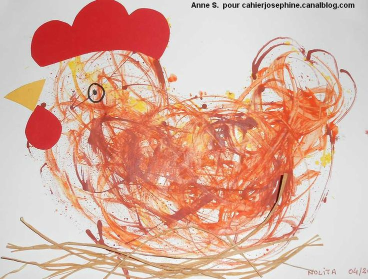 """""""Avec des plumes"""" Springtime hen (practice free-hand drawing skills on this one)! (Spring craft, for a child)"""