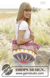 """Market Day - Crochet DROPS bag with color pattern in 2 strands """"Paris"""". - Free pattern by DROPS Design"""