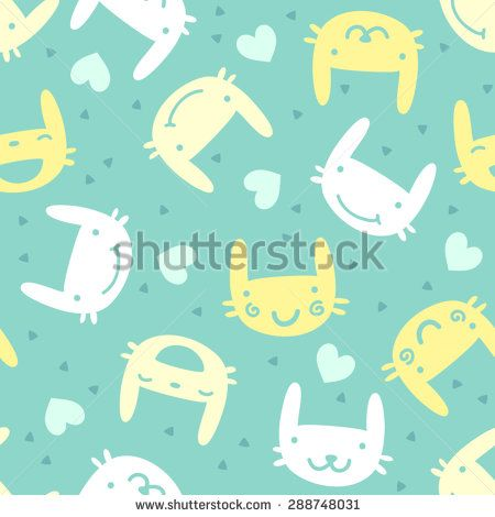 seamless pattern with cute bunny emotions.