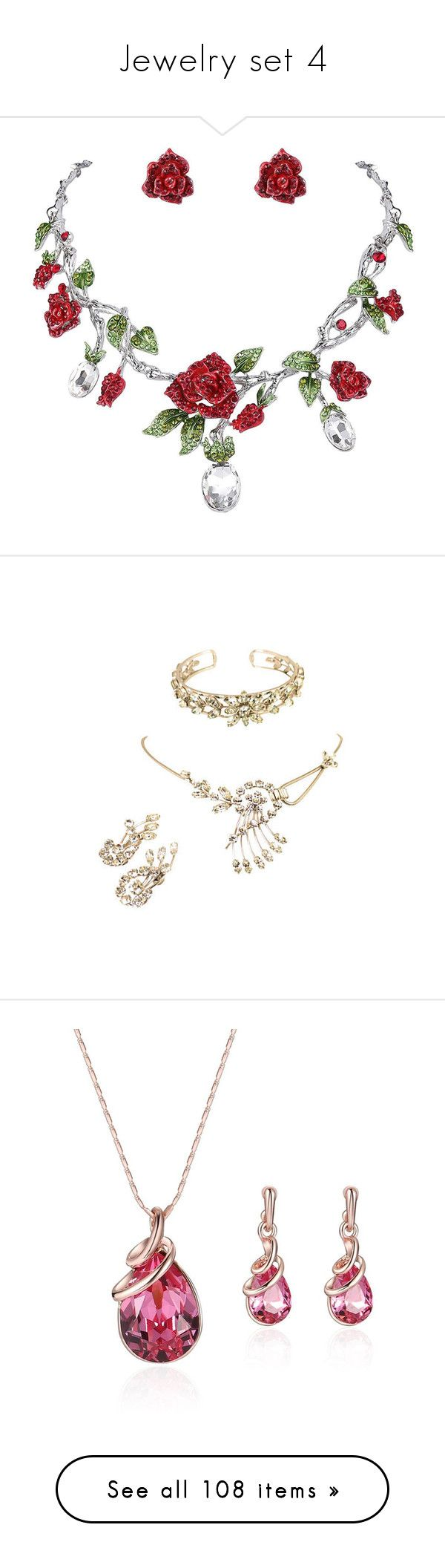 """""""Jewelry set 4"""" by thesassystewart on Polyvore featuring jewelry, earrings, red rhinestone earrings, red jewelry sets, rose earrings, red crystal earrings, green crystal earrings, clear crystal jewelry, white jewelry and 14k jewelry"""