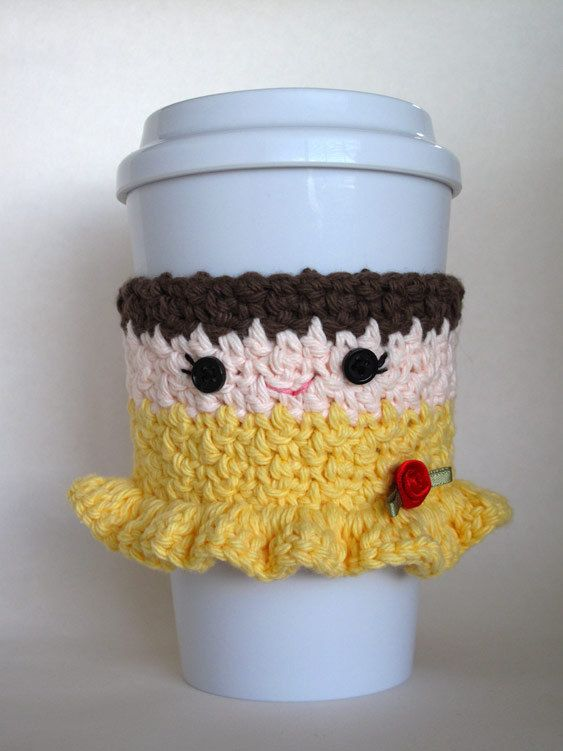 Crochet Belle Princess Coffee Cup Cozy by TheEnchantedLadybug, $15.00