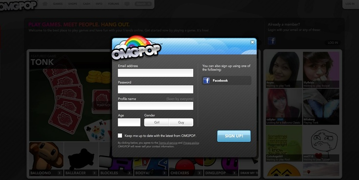 OMGPOP popup signup form