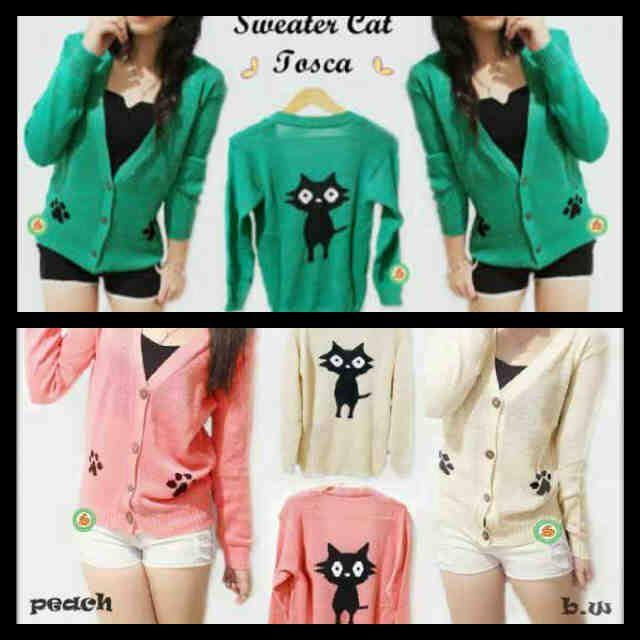 """Sweater Cat Glitter"" Ready Stock (produksi terus) Harga Rp 46000 Tersedia 3 warna (Tosca, Peach dan BW)"