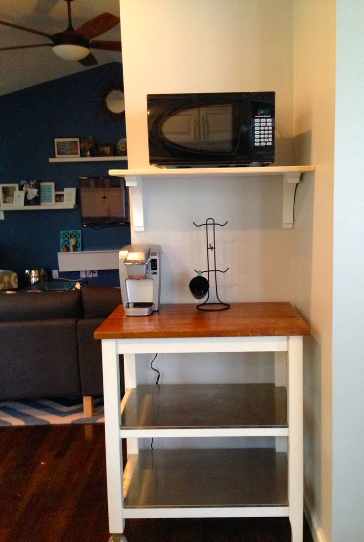 Stunning White Wooden Floating Microwave Shelf Over Small