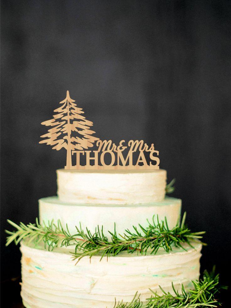 Wood Cake Topper Mr Mrs topper  Winter Wooden Cake Topper Tree Rustic Cake…