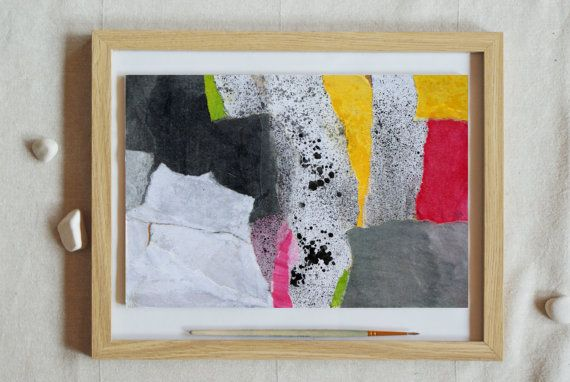 Abstract Collage Painting Original Expressive Wall by KowashiArt