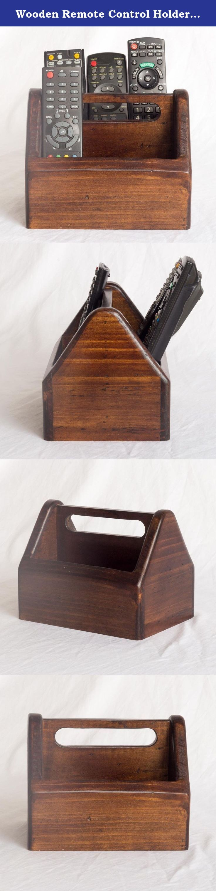 Wooden Remote Control Holder - 2 Compartments - Centre Handle. This wooden remote control holder will help organise and store the remotes for your array of home electronic devices and would suit any home or office. The remote holder has two spacious compartments that can hold three remotes each and has a centre handle for when you need to carry the holder. The design of the remote holder means that the remotes are kept in view and easily accessible also the compact shape means it doesn't...