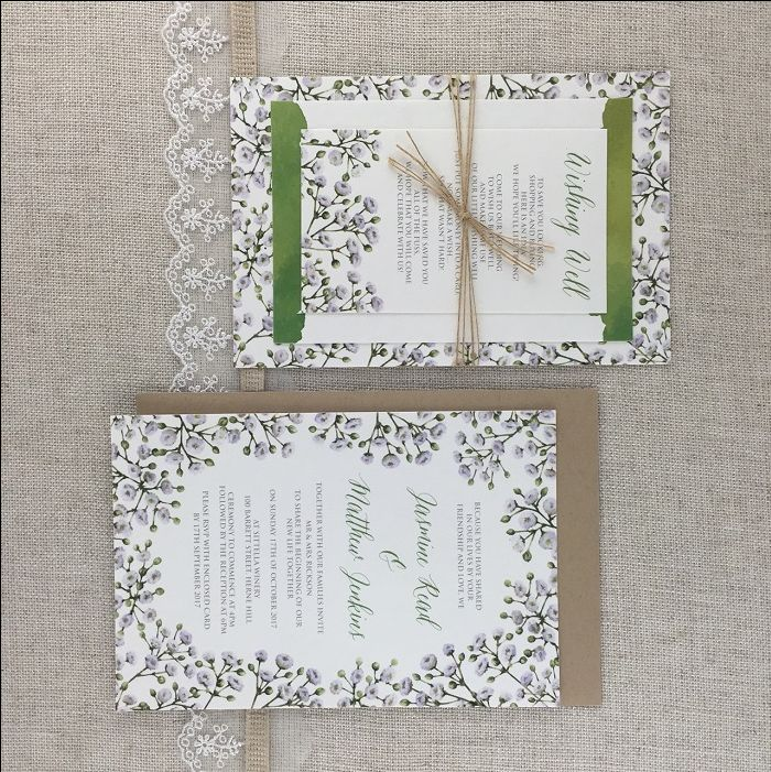 Baby's Breath Green Invitation - http://www.starfishlane.com.au/product/babys-breath-green-invitation/