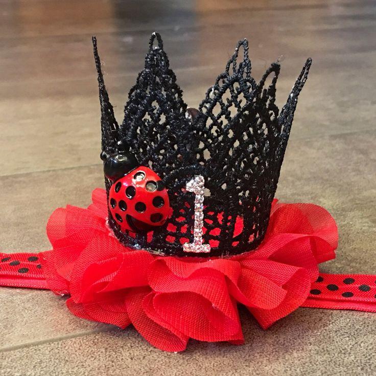 Fancy ladybug lace birthday crown