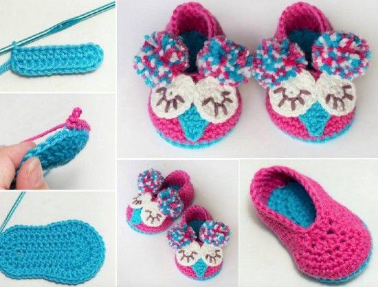 Owl Crochet Booties Free Pattern