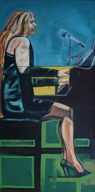 "Saatchi Art Artist Piotr Kachny; Painting, ""Female Playing Jazz"" #art"