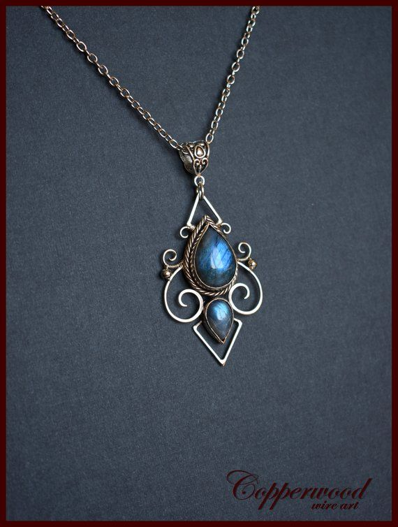 4de3f8de0 Blue Labradorite necklace - Wire wrapped jewelry - Blue gemstone pendant -  elven necklace - Metalwor