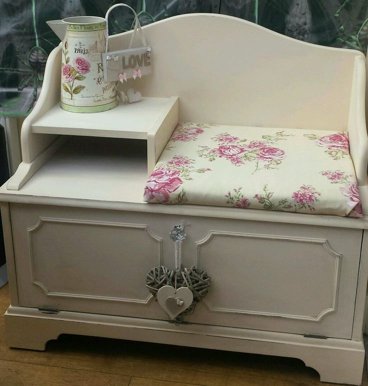 Telephone Seat/table. shabby Chic Style. Newly upholstered in clarke and clarke in Home, Furniture & DIY, Furniture, Tables | eBay