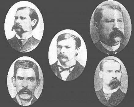 Wyatt, Virgil, Morgan, James Earp, and Doc. Holiday (lower left)