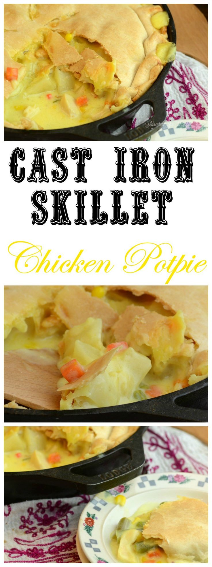 This cast Iron Skillet Chicken Potpie looks delicious! You will be pleasantly surprised at how easy it is to make.  Pin for Later!