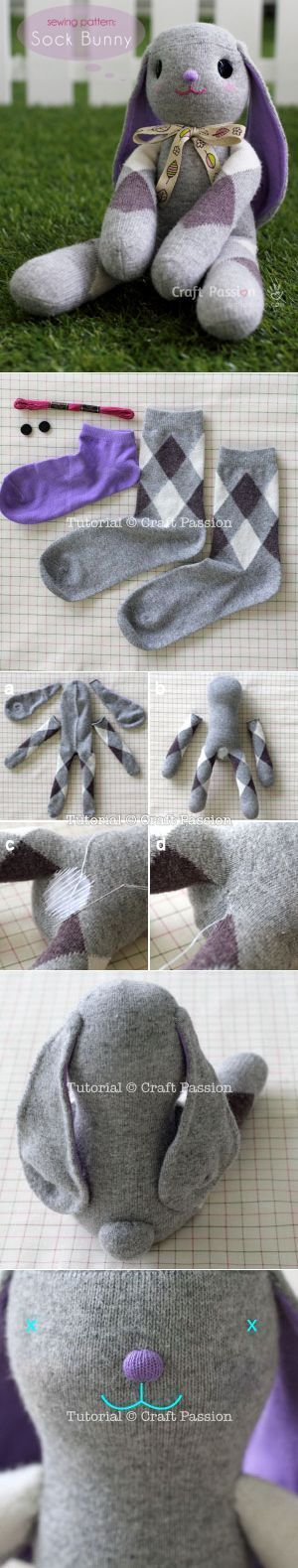 Sock Bunny Lop-Eared -Free Sew Pattern                                                                                                                                                                                 More