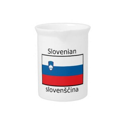 Slovenian Language And Slovenia Flag Design Drink Pitcher - decor gifts diy home & living cyo giftidea