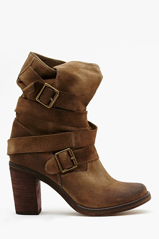 France Strapped Boot - Taupe Suede in Shoes Our Most-Loved Stuff at Nasty Gal This boot has great attitude!