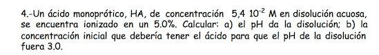 Ejercicio 4, propuesta 2, SETIEMBRE 1999. Examen PAU de Química de Canarias. Tema: ácido-base.