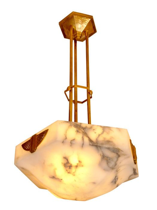 Art Deco ceiling lamp - bronze frame - alabaster in a rare hexagonal shape