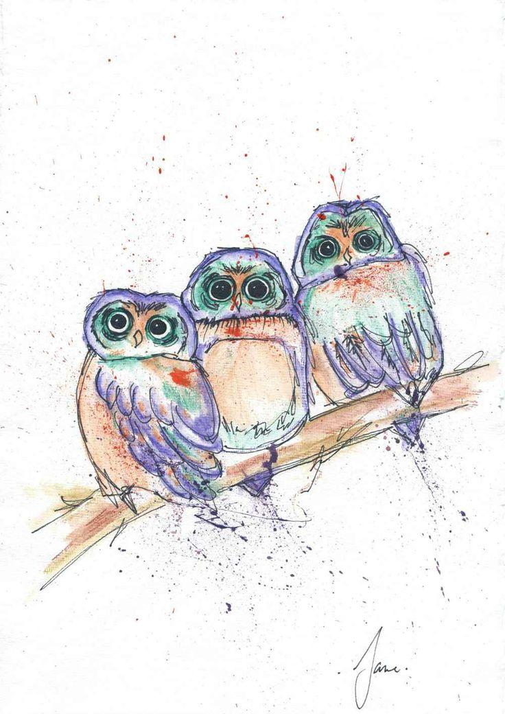Three Owls, Water colour Pencils, by Jane Burton