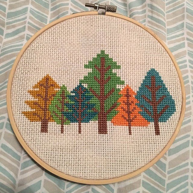 Winter Trees Forest Beginners Mini Cross Stitch Greetings Card Sewing Kit Craft