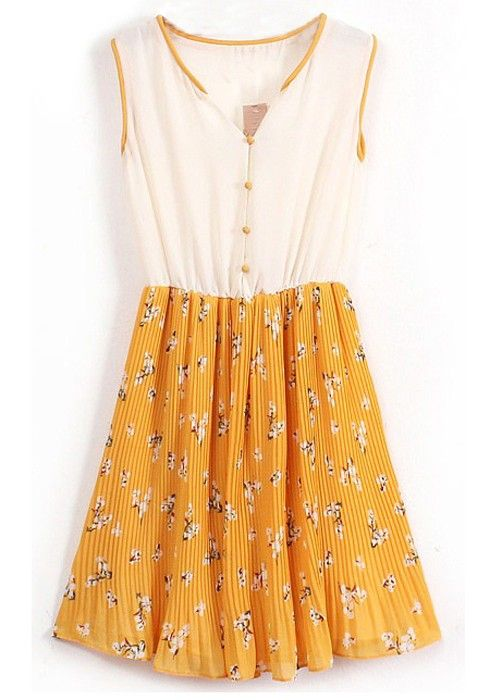 Yellow Patchwork Floral Single Breasted Pleated Chiffon Dress