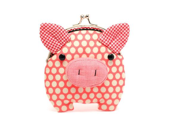 Little salmon pink piggy clutch purse by misala on Etsy, $24.90