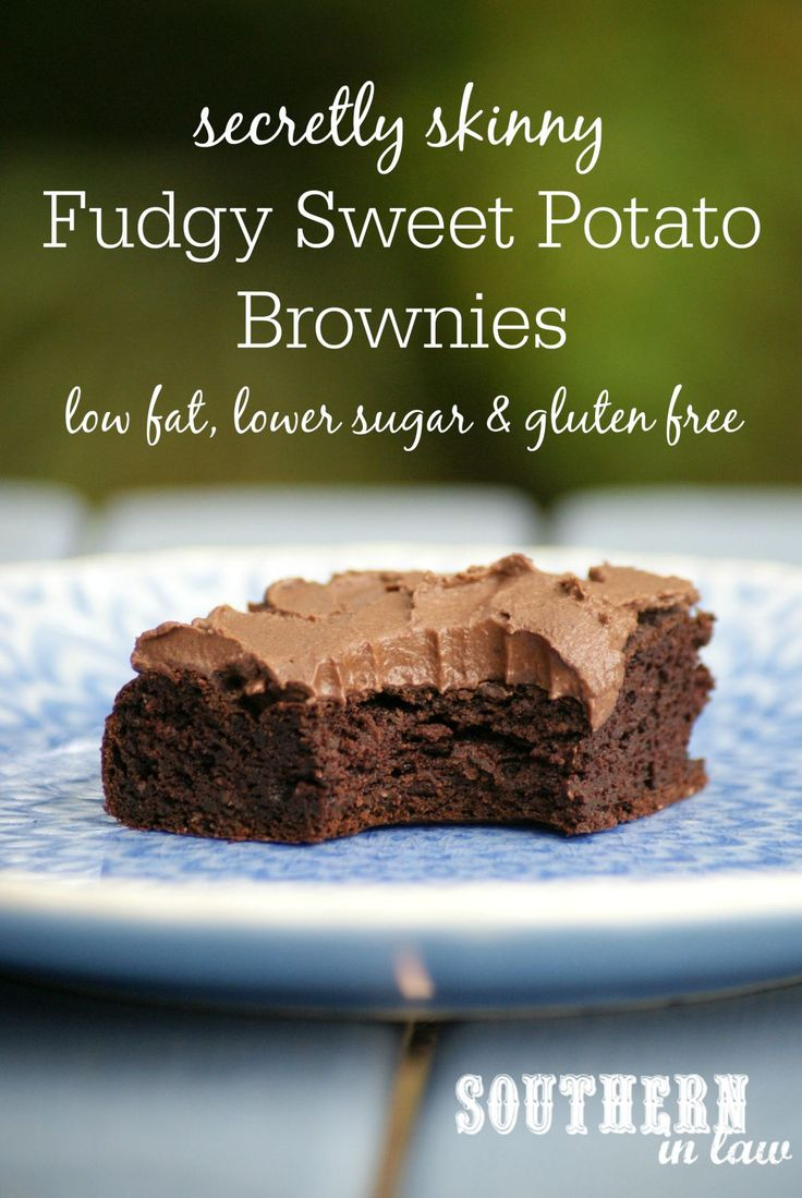 You would never guess that these fudgy gluten free brownies were healthy - and you definitely would not know they had sweet potato in them! Dont be put off by the sweet potato, these brownies are rich, fudgy and delicious as well as healthy, gluten free, low fat, lower sugar, secretly skinny and freezer friendly! Healthy Fudgy Sweet Potato Brownies Recipe.