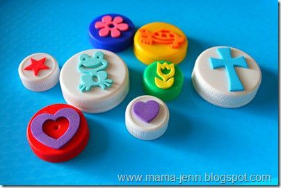 Bottle top + stick foam pieces = stamps: Homemade Stamps, Diy Stamps, Bottle Tops, Head Of Garlic, Bottle Cap, Foam Stickers, Ink Pads, Kids Crafts, Plastic Lids