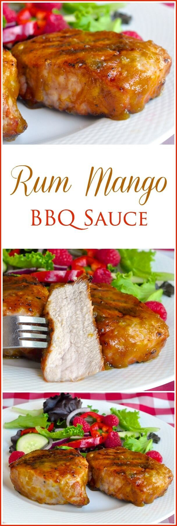 Rum Mango Barbecue Sauce - Add a totally tropical twist to your grilled chicken or pork with this amazing, flavorful mango barbecue sauce. A splash of rum adds even more bright flavor.