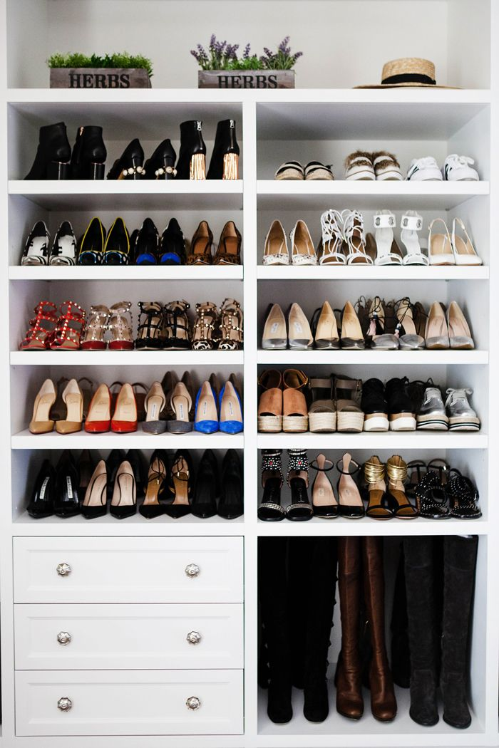 Stunning closets // 40 shoe organizing tips and tricks // closet organizing // professional organizer // www. simplyspaced.com