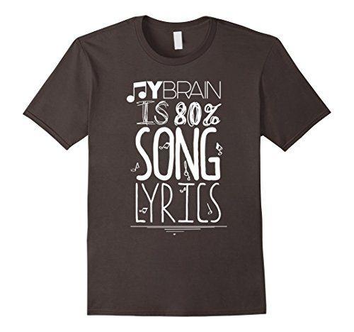 Men's My Brain Is 80 Song Lyrics T-Shirt Music Lover Nove…