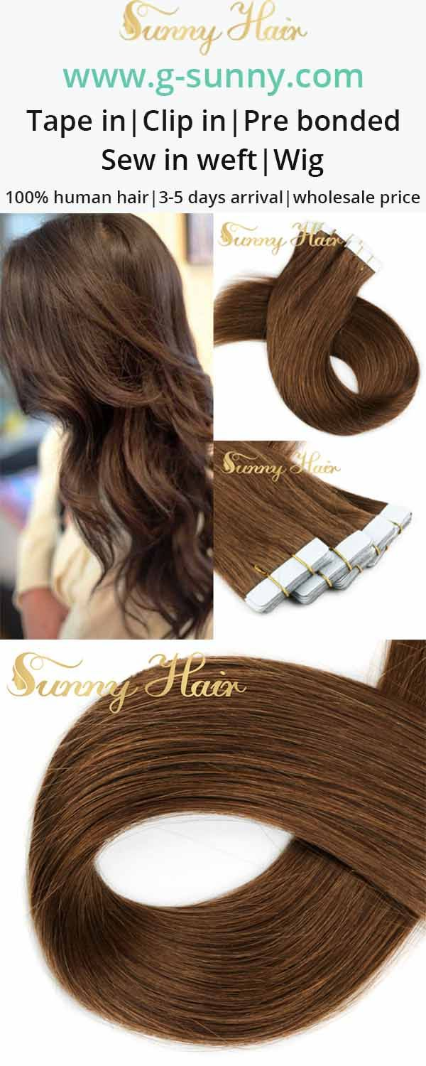 sunny hair medium brown human hair extensions tape in. g-sunny.com