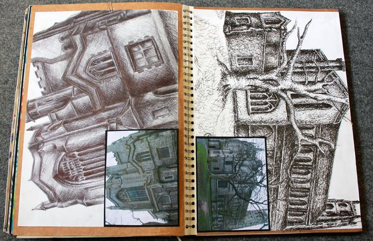 Biro drawings from photographs Mural Project - UNIT 1 COURSEWORK