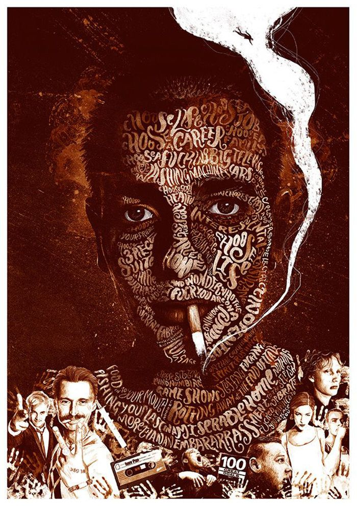 """Trainspotting alternative movie poster by Peter Strain Movie Synopsis: """"Renton, deeply immersed in the Edinburgh drug scene, tries to clean up and get out, despite the allure of the drugs and influence of friends.""""  More Peter Strain AMPs: Peter Strain  Artists Website: http://www.peterstrain.co.uk/"""