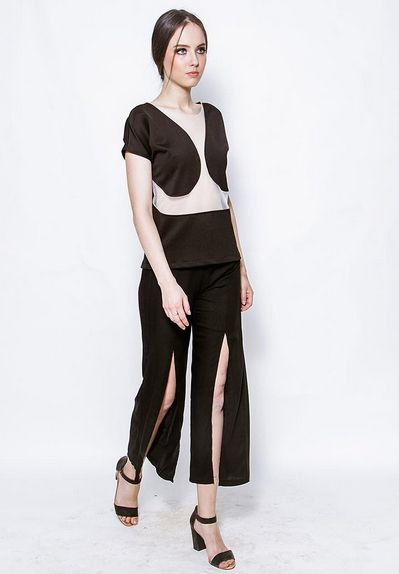 Stephany See Thru Top & Burma Slit Pants by kim. Because black never goes out of style, KIM now has a wider range of selection styles of black for you to choose from! You know what they say - When all else fails, wear something black and put a bag over it!