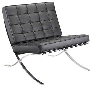 M331 Barcelona Lounge Chair In Black Leather   Modern   Sofas   By Meelano