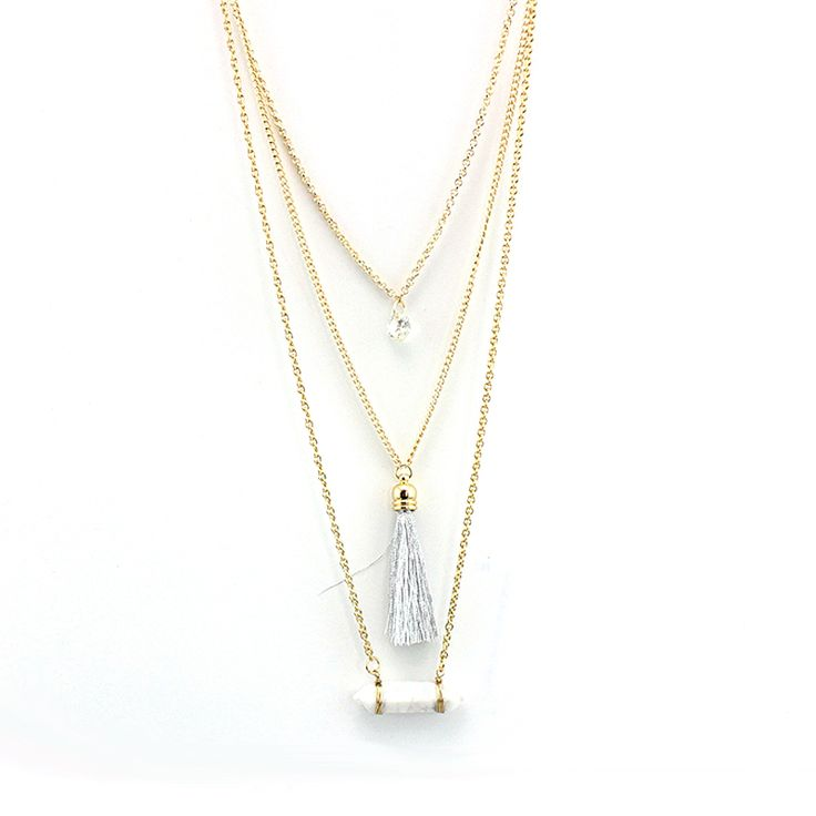 TOUCHEART Natural Stone Crystal Necklace For Women Turquoise Tassel Multilayer Chain Necklaces Engagement Jewelry SNE160106