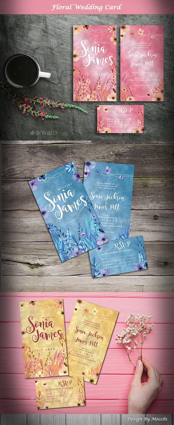 Floral Wedding Card Template PSD #design