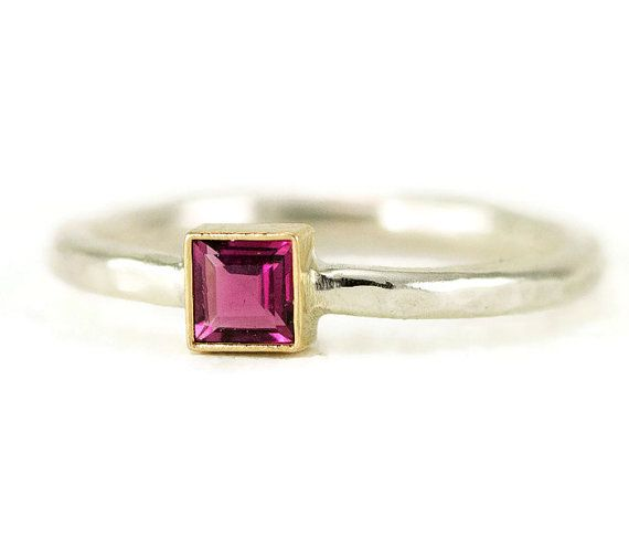 Tourmaline 14k Gold and Sterling Ring  Princess Cut by PPennee