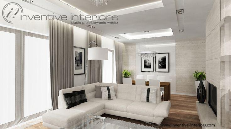 Projekt salonu Inventive Interiors - elegancki, przytulny i ponadczasowy salon w beżach