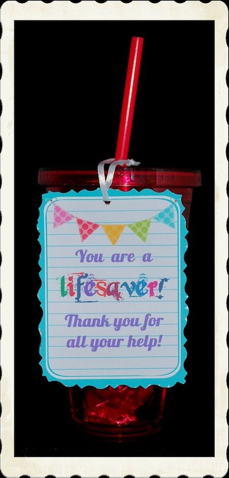 Give your teacher a cup they can use over and over! Cute tags lets them know they are a lifesaver and yes we fill the cup with lifesaver candy! This can be customized for a teacher aide gift or a parent volunteer gift.