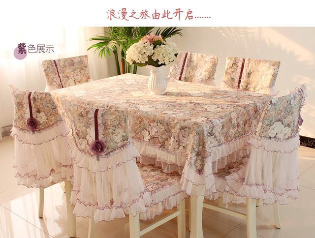 Quality Dining table cloth chair cover lace printed home tablecloth lace hair cushion cover set beuatiful luxury table chair set