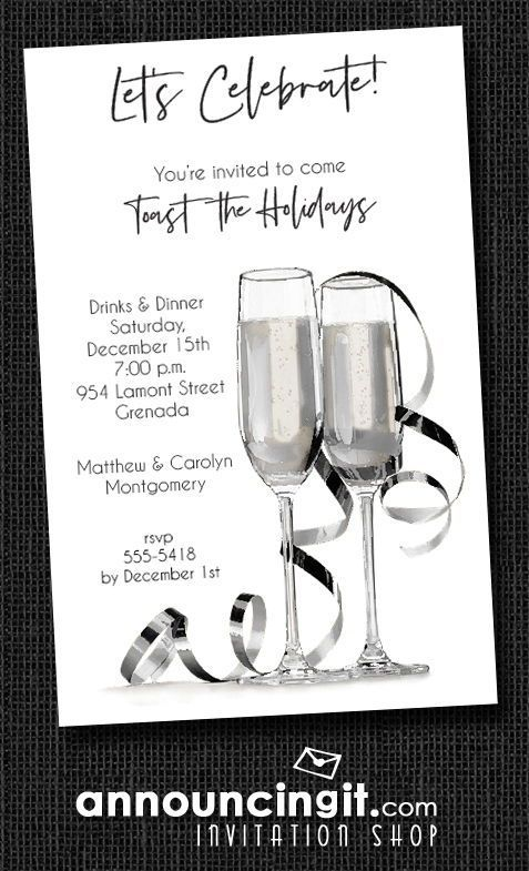 new years eve party invitations two tall crystal champagne glasses and silver streamers perfect for holiday party invitations christmas cocktail party
