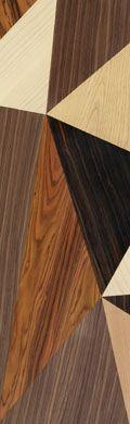 Paneles de madera confeccionados mediante la fusión de distintas chapas. Colección Join, modelo Art