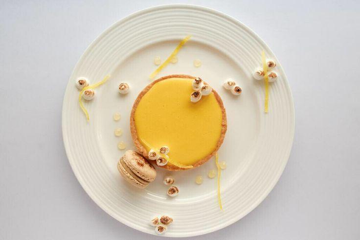 Our version of the classic lemon meringue tart: http://www.mouthfool.com/2014/06/lemon-meringue-pie-chai-macaron-citrus-gel/ #dessert #macaron #pastry #lemon