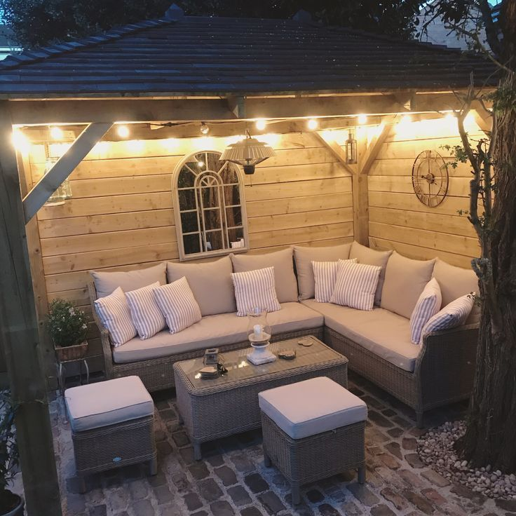 Evening garden, gazebo, lighting, small garden, outdoor socialising