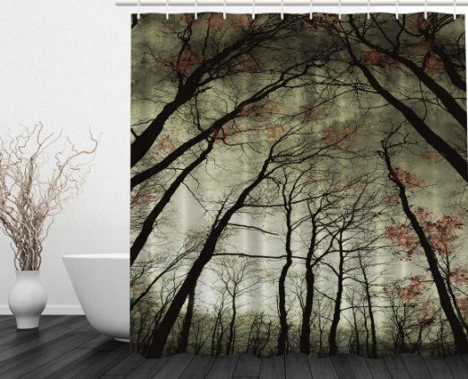 Ambesonne Nature Decor Collection, Mystic Dark Forest Dead Trees, Polyester Fabric Bathroom Shower Curtain Set with Hooks, Green Black Khaki